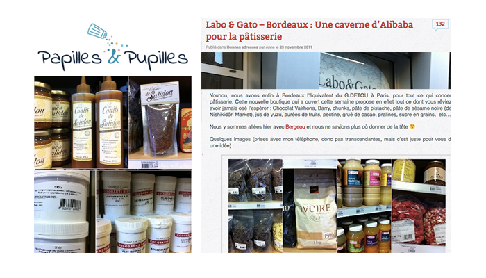 On parle de nous ! papille et pupille, labo et gato,  professional cake baking supplies